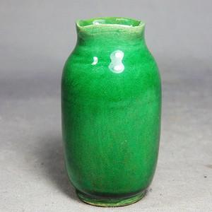 清代绿釉方口小瓶