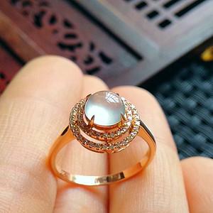 金牌 冰润满绿平安扣吊坠18k金伴钻镶嵌圆珠戒指