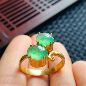 金牌 冰润阳绿镶铜戒指