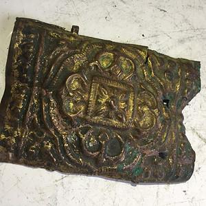 明代铜鎏金金刚杵小铜版