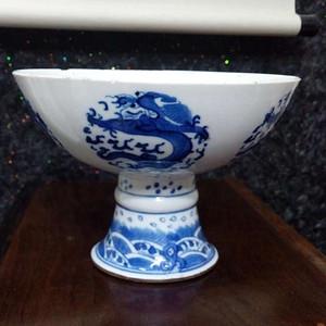520 清代青花团龙高足碗