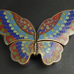 铜胎掐丝珐琅 鎏金 蝴蝶鸳鸯盖盒 一套