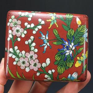 清代铜胎掐丝珐琅叶茶盒