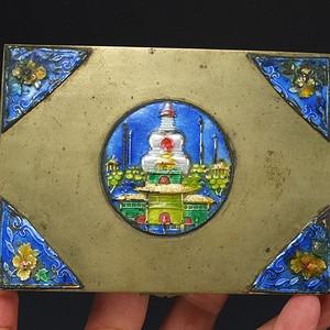 清代 铜胎 烧蓝 珐琅 茶叶盒子