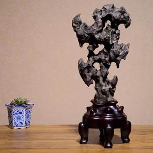 太湖石头贡石案头奇石摆件 送苏作红木座