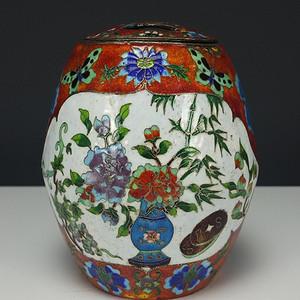 清代 铜胎烧蓝珐琅彩 茶叶罐