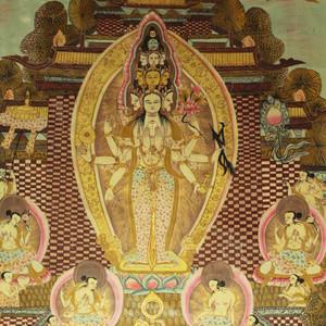 清代西藏  十一面八臂观音菩萨唐卡
