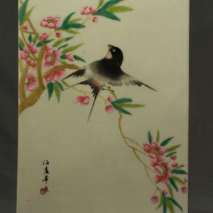 民国名家毕伯涛喜鹊登梅纹瓷板