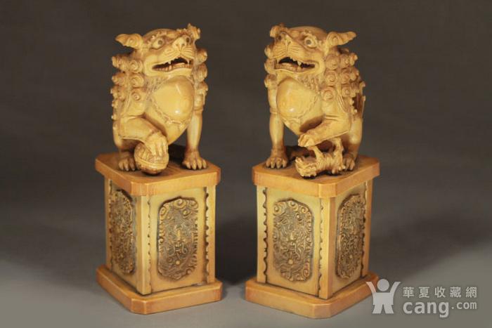 清代精雕少狮太狮摆件一对 重2000克
