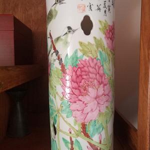 520清晚期壬寅年张子英富贵白头花卉帽筒