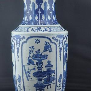 清中期青花瑞兽八宝花卉纹大花瓶
