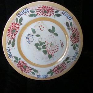 520 清代早期五彩大描金花卉盘