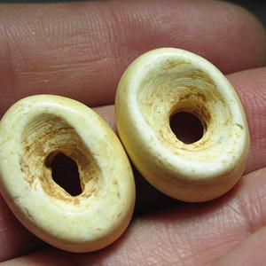 战汉 鸡骨白玉 窝宝形制 对珠玉质细腻 包浆老道