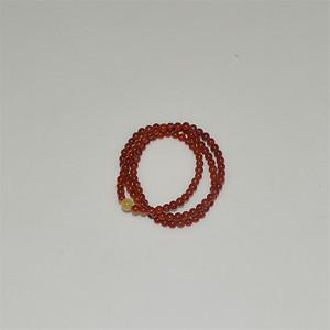 凉山南红玛瑙精圆珠子配天然蜜蜡三圈手链