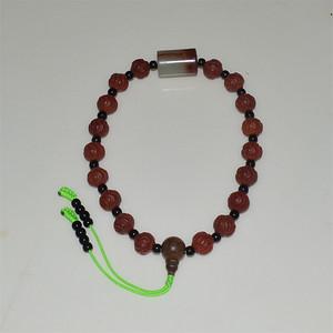 有些年份 红玛瑙水波纹珠子配青玉顶珠十八子手持 车挂