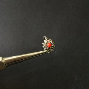 8069欧洲回流银嵌珊瑚戒指