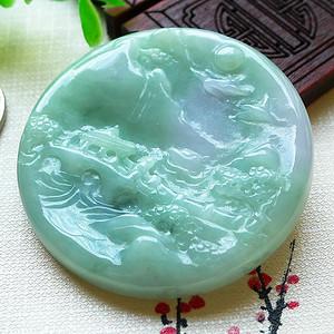 天然翡翠好种浅绿精雕山水牌