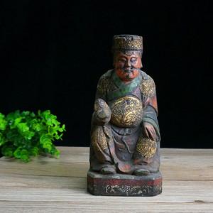 清民木雕财神像