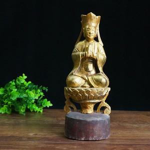 清刷金樟木菩萨像