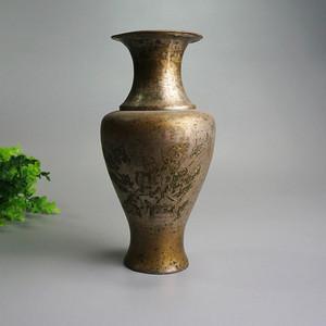 清鎏银加彩铜花瓶