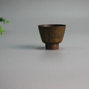 清民铜鎏银刻花酒杯