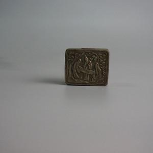 清三星人物白铜盒