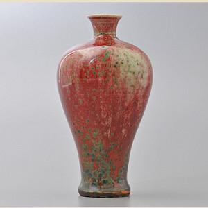回流窑变老红釉瓷瓶