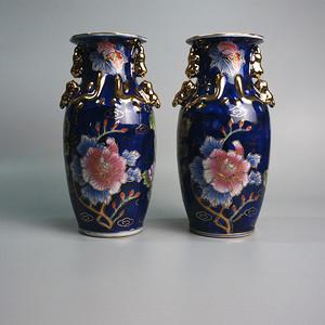 厂瓷蓝釉堆金瓷瓶 花开富贵