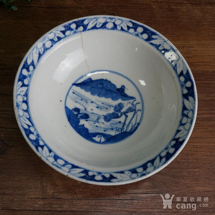 清青花三星大瓷碗图3