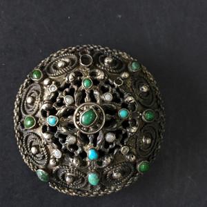 8054欧洲回流银嵌绿松珍珠胸针