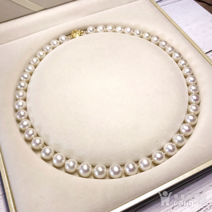 漂亮强光天然淡水珍珠近正圆珍珠项链!图4