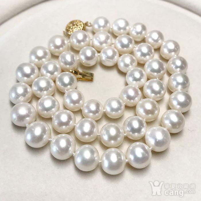 漂亮强光天然淡水珍珠近正圆珍珠项链!图1