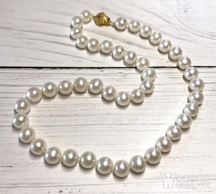漂亮强光天然淡水珍珠近正圆珍珠项链!图8
