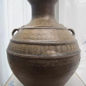 520 汉代原始青瓷划龙纹双耳瓶