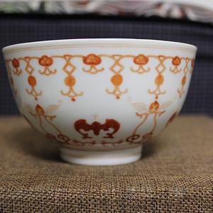 520 光绪官窑矾红福寿纹碗