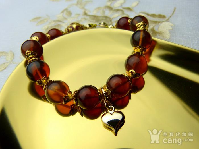 520 天然缅甸彩虹琥珀日本贵和金手链图1