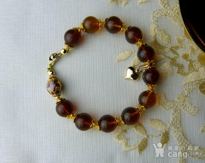 520 天然缅甸彩虹琥珀日本贵和金手链图2
