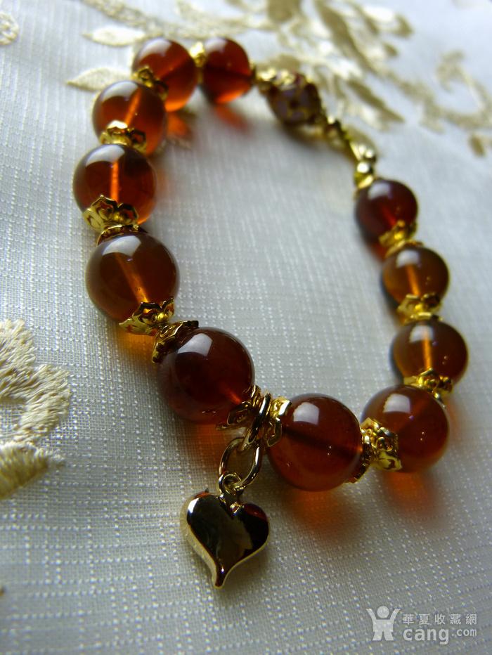 520 天然缅甸彩虹琥珀日本贵和金手链图3