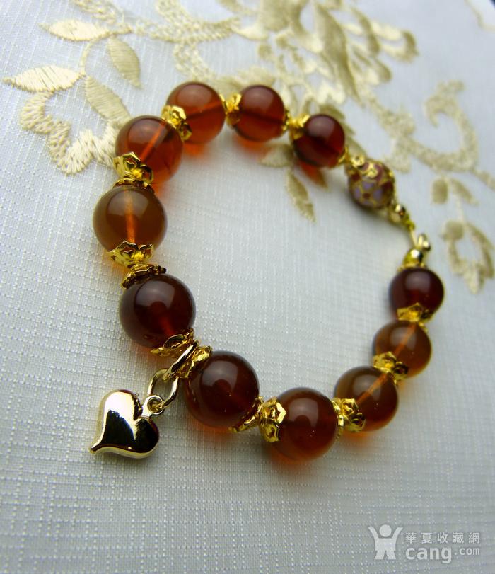 520 天然缅甸彩虹琥珀日本贵和金手链图4
