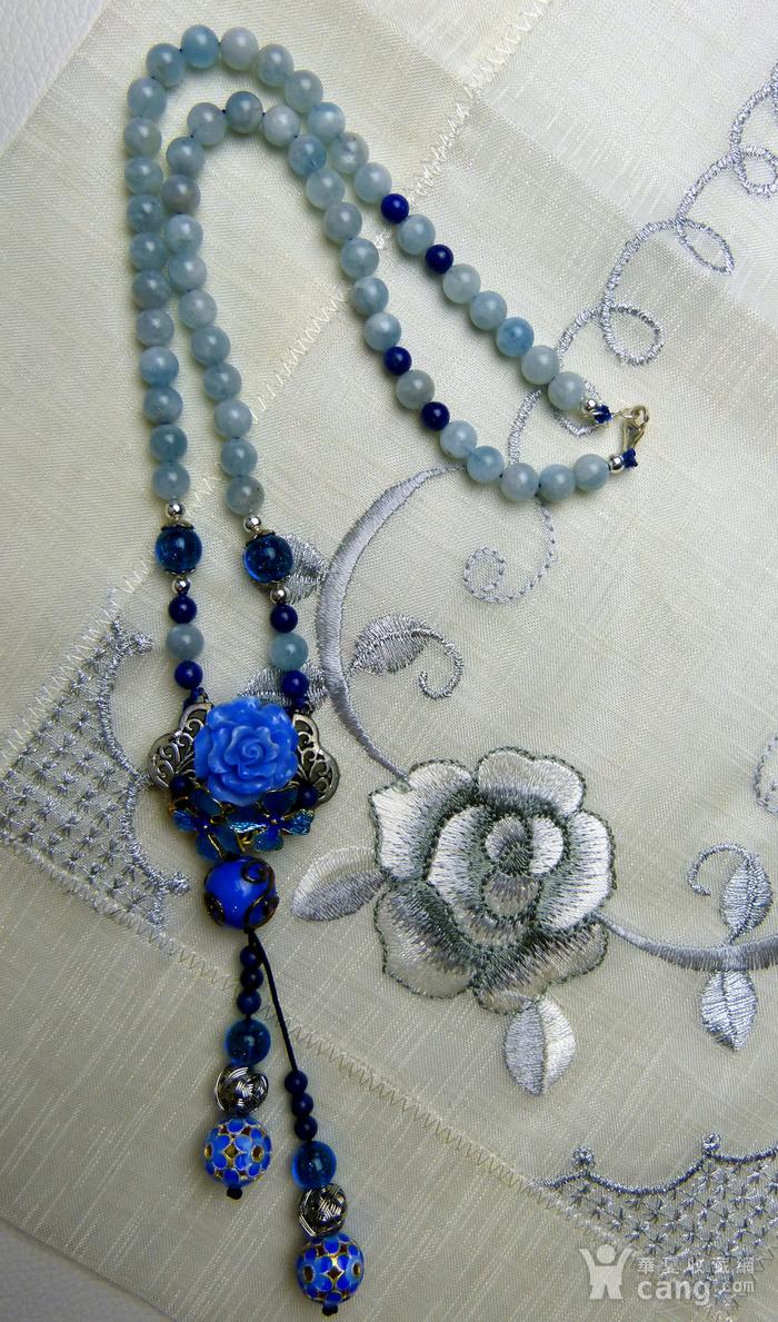 520 天然巴西海蓝宝石项链图1
