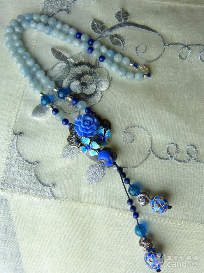 520 天然巴西海蓝宝石项链图3