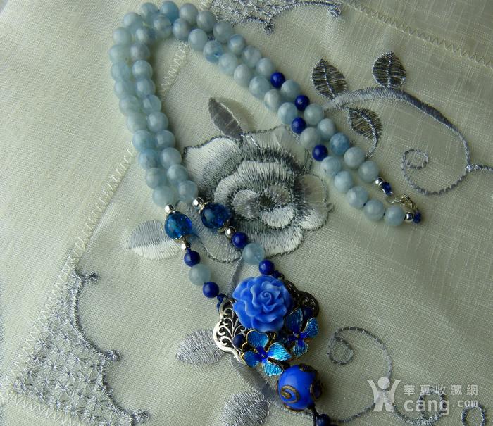 520 天然巴西海蓝宝石项链图7