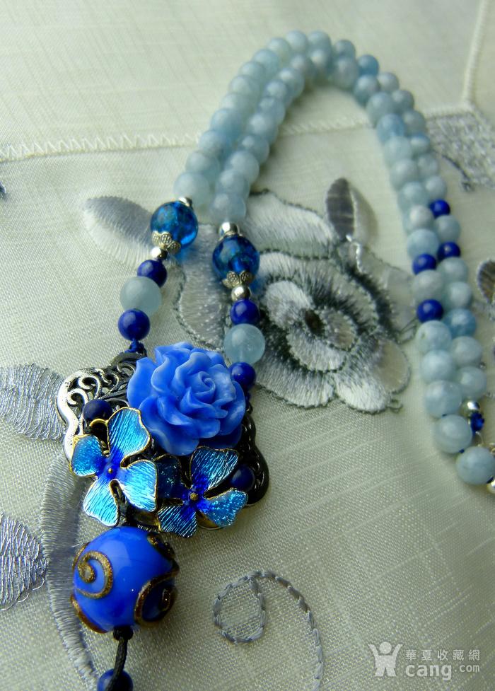 520 天然巴西海蓝宝石项链图9