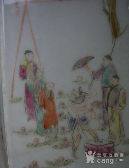 520 粉彩六棱杂耍人物花鸟笔筒图12