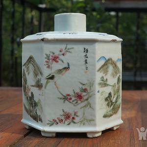 520 清汪友棠绘浅绛彩六棱茶叶罐