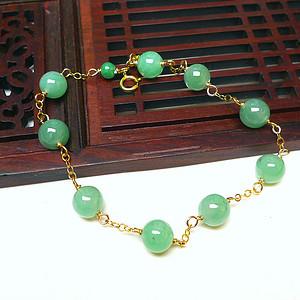 金牌 14k包金冰润满绿圆珠手链