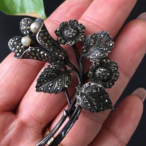 8094欧洲回流银嵌铁矿石胸针