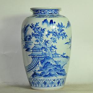 民国时期日本九谷青花瓷瓶
