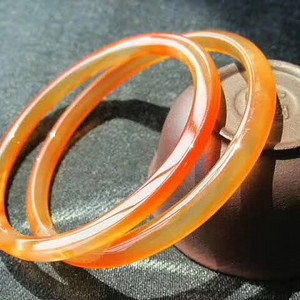 小有年头 同料开 上等 江河冰彩玛瑙 双环手镯 内径56MM条