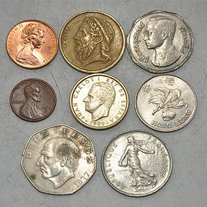 国外老钱币八枚